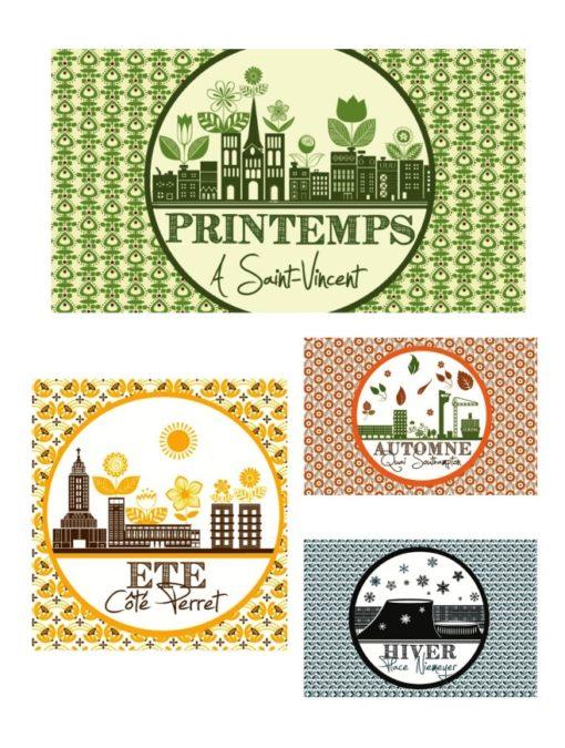 """Pack de 4 illustrations """"4 Saisons au Havre"""""""