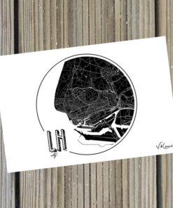 Carte Postale Le Havre City carte noir et blanc