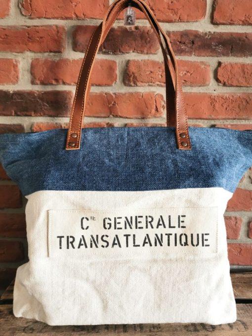 Sac bleu coton et cuir Compagnie Générale Transatlantique