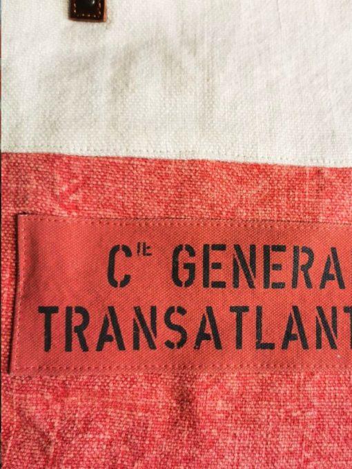 Sac corail coton et cuir Compagnie Générale Transatlantique