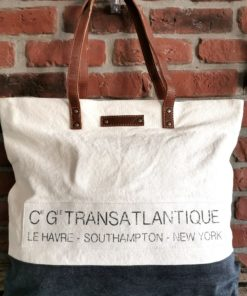Sac à main bleu marine coton et cuir Le Havre Southampton New York