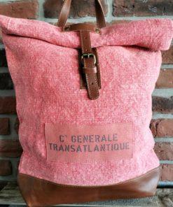 Sac à dos coton corail Compagnie Générale Transatlantique