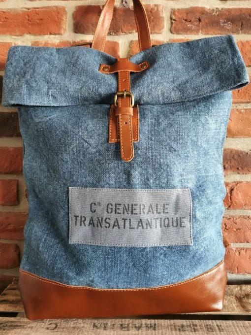 Sac à dos coton bleu Compagnie Générale Transatlantique